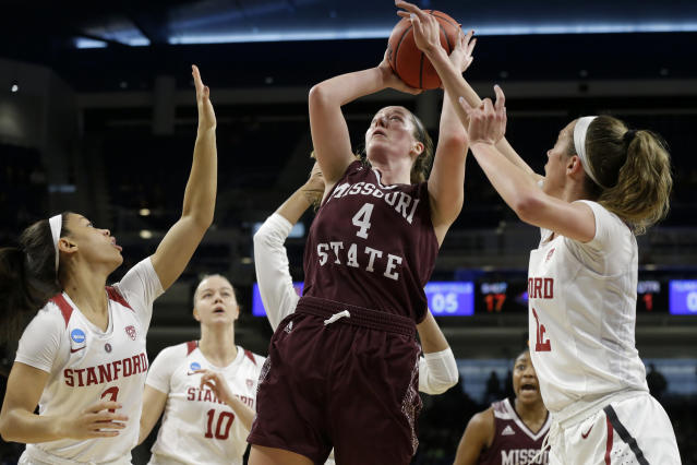 FILE - In this Saturday, March 30, 2019, file photo, Missouri State's Abby Hipp (4) shoots against Stanford's Lexie Hull (12) during the first half of a regional semifinal game in the NCAA women's college basketball tournament, in Chicago. In the first week of December 2019, Missouri State is ranked for the first time in 15 years. Hipp is one of the team's returning players from a squad that reached last season's Sweet 16. (AP Photo/Kiichiro Sato, File)
