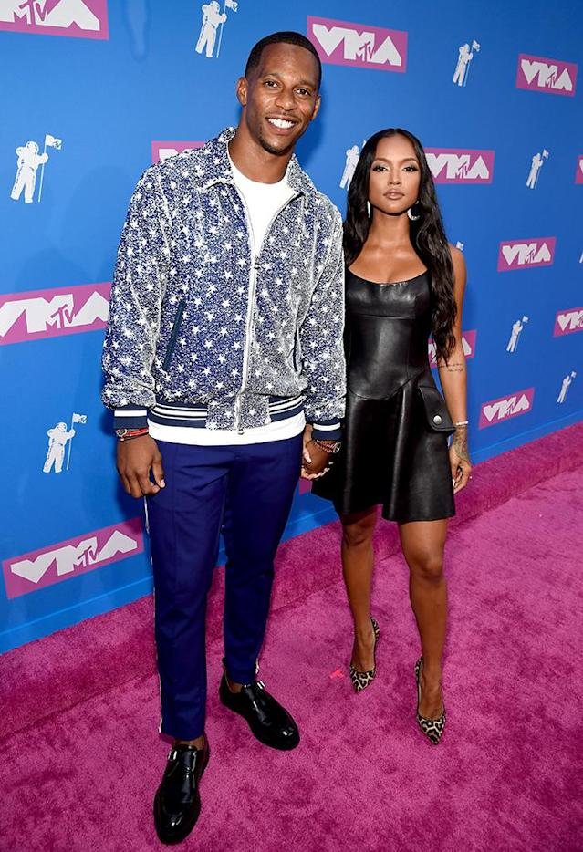 <p>Victor Cruz and Karrueche Tran attend the 2018 MTV Video Music Awards at Radio City Music Hall on August 20, 2018 in New York City. (Photo: Kevin Mazur/WireImage) </p>