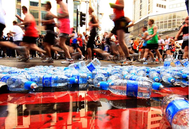 Discarded water bottles during the London Marathon. (Getty)