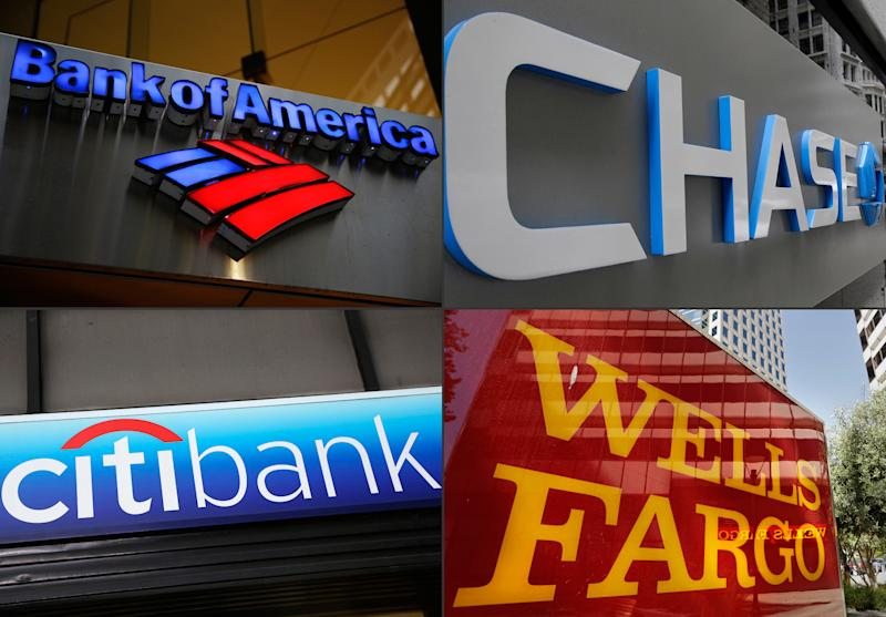 FILE - This file photo combination shows bank branches of, clockwise from top left, Bank of America, Chase, Wells Fargo, and Citibank. The impact of low oil prices has continued to hobble the finances of U.S. banks, which posted increased loan losses in the first quarter of 2016 driven by a huge jump in delinquent energy loans, data issued Wednesday, June 1, 2016, by the Federal Deposit Insurance Corp. showed. The six largest U.S. banks: JPMorgan Chase, Bank of America, Citigroup, Wells Fargo, Goldman Sachs and Morgan Stanley, have billions of dollars of exposure to energy loans that won't all be paid back. (AP Photo/File)