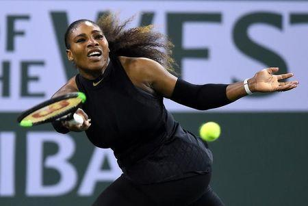 Mar 8, 2018; Indian Wells, CA, USA; Serena Williams (USA) during her first round match against Zarina Diyas (not pictured) at the BNP Paribas Open at the Indian Wells Tennis Garden. Jayne Kamin-Oncea-USA TODAY Sports/Files