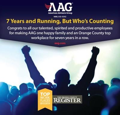 American Advisors Group (AAG) named Orange County Top Workplace by the Orange Country Register for seventh straight year