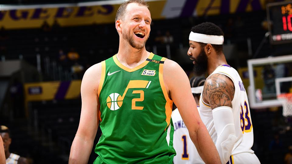 Joe Ingles led the Utah Jazz to a crucial victory over the shorthanded Los Angeles Lakers on Tuesday. (Photo by Adam Pantozzi/NBAE via Getty Images)