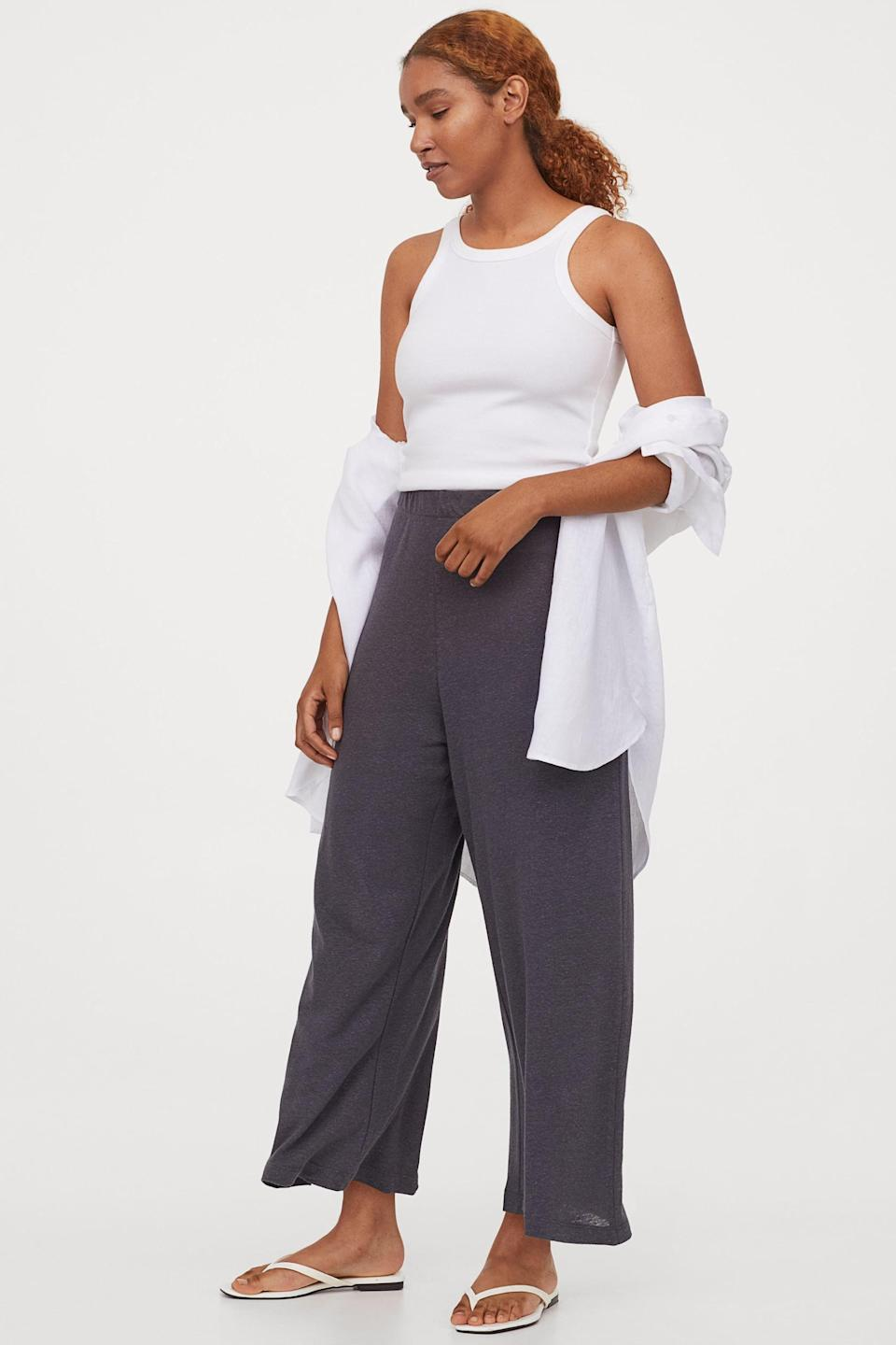 <p>For days you just want to lounge, get these comfy <span>H&amp;M Wide-cut Jersey Pants</span> ($25).</p>