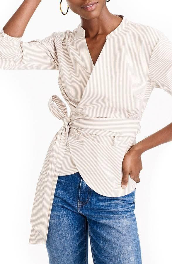 "Get it <a href=""https://shop.nordstrom.com/s/j-crew-stretch-cotton-stripe-wrap-top/4881889?origin=category-personalizedsort&fashioncolor=KHAKI%20WHITE"" target=""_blank"">here</a>."