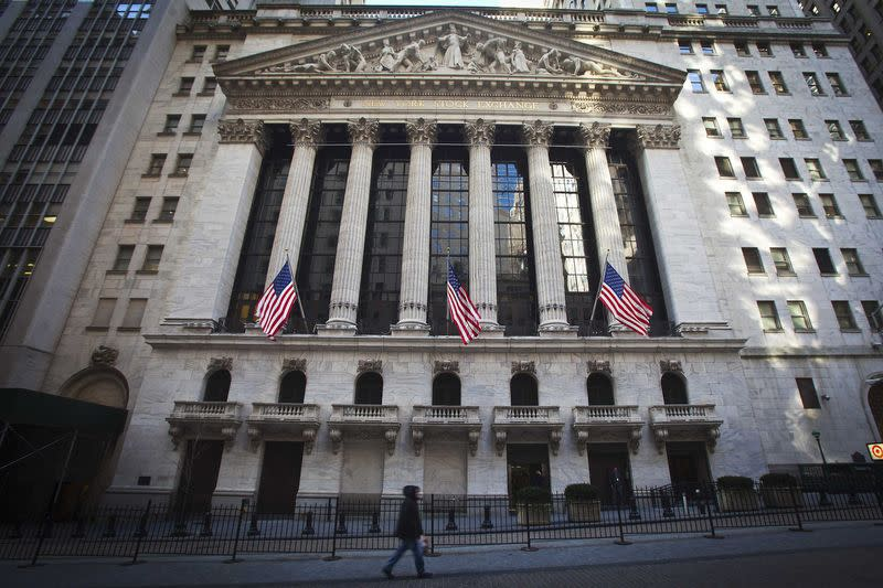 The New York Stock Exchange exterior is pictured in the Manhattan borough of New York