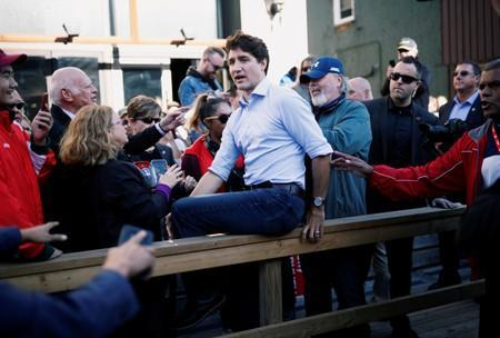Liberal leader and Canadian Prime Minister Justin Trudeau attends an election campaign visit to Richmond Hill near Toronto