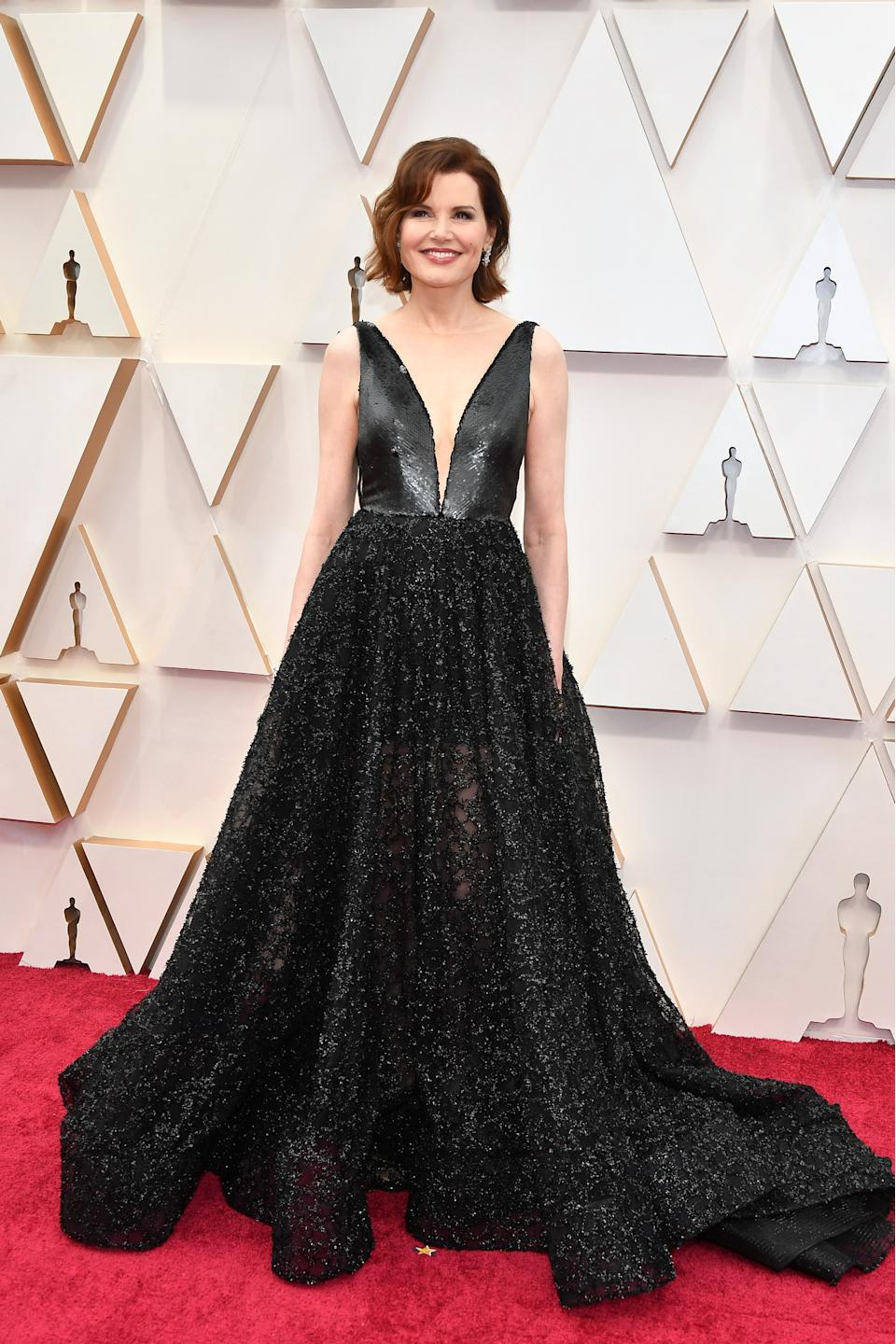 Davis arrived on the red carpet in a glamorous black sequinned gown that featured a plunging illusion neckline. In Oct. 2019, Davis was awarded the Jean Hersholt Humanitarian Award, an honorary Oscar for her work in promoting gender equality and confronting gender bias on screen.
