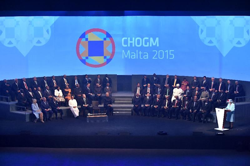 Queen Elizabeth II delivers a speech during the opening ceremony of the Commonwealth Heads of Government Meeting (CHOGM) at the Mediterranean Conference Centre in Valletta on November 27, 2015 (AFP Photo/Alberto Pizzoli)