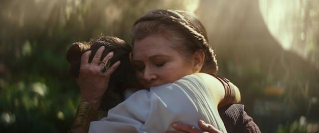 General Leia Organa (Carrie Fisher) and Rey (Daisy Ridley) embrace in <em>Star Wars: The Rise of Skywalker</em>. (Photo: Lucasfilm)
