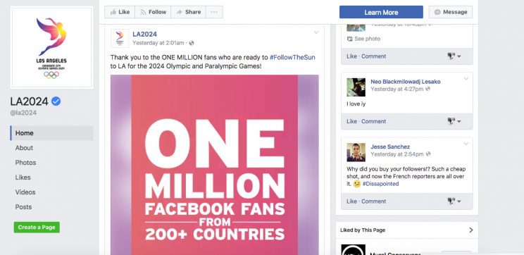 The LA 2024 Facebook page has 1 million followers, but are they real? (Facebook)