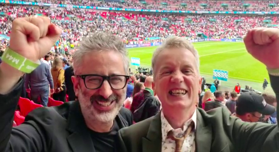 David Baddiel and Frank Skinner belted out Three Lions alongside the other joyous supporters at Wembley Stadium. (Twitter)