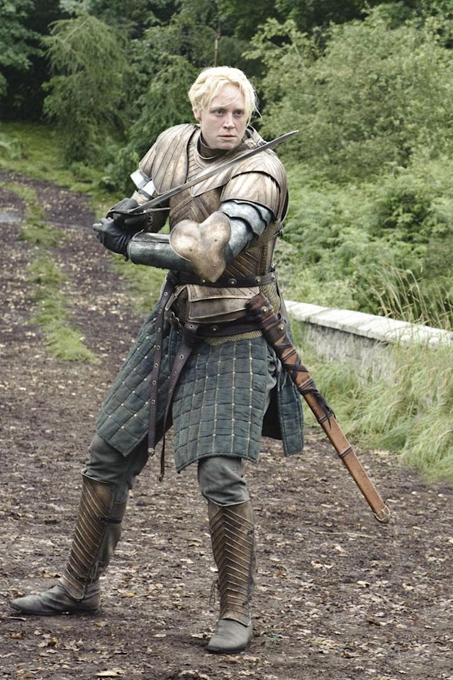 "Gwendoline Christie in the ""Game of Thrones"" Season 3 episode, ""Dark Wings, Dark Words."""