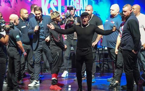 <span>Logan Paul takes centre stage during the pre-fight presser</span> <span>Credit: PA </span>