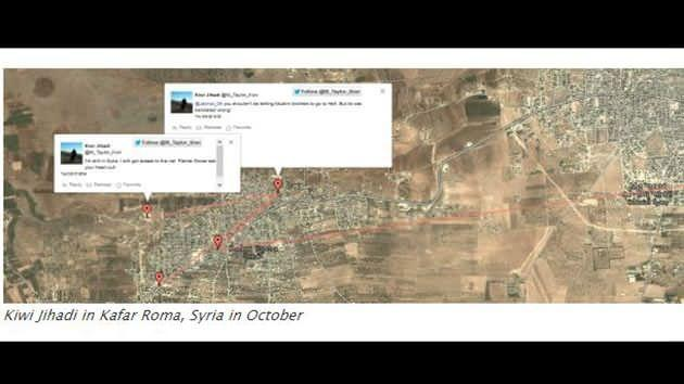 The blog claim the tweets by @M_Taylor_Kiwi show he was fighting with ISIS in Kafar Roma in October. Source: Ibrabo