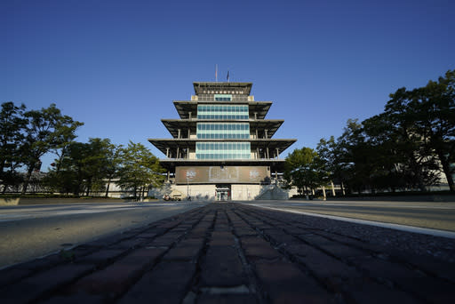 The Pagoda is seen before a practice session for the Indianapolis 500 auto race at Indianapolis Motor Speedway, Saturday, Aug. 15, 2020, in Indianapolis. (AP Photo/Darron Cummings)