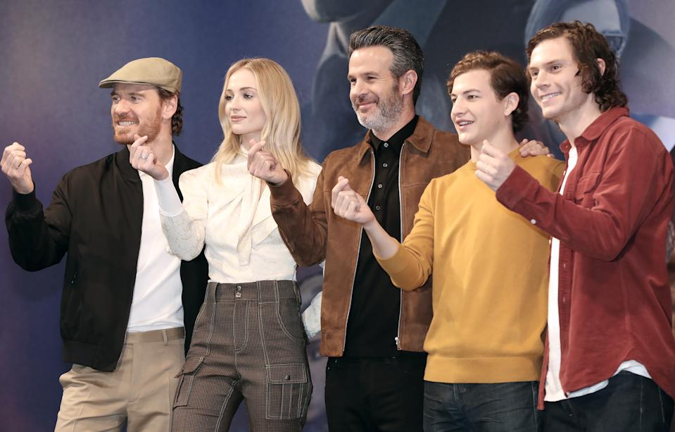 SEOUL, SOUTH KOREA - MAY 27: Actor Michael Fassbender, Actress Sophie Turner, Director Simon Kinberg, Actor Tye Sheridan and Actor Evan Peters attend the press conference for 'X-Men : Dark Phoenix' South Korea premiere on May 27, 2019 in Seoul, South Korea.(Photo by JTBC PLUS/Imazins via Getty Images)