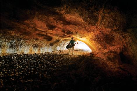 Inside the lava tube on the Tom Fazio Golf Course at Pronghorn in Bend, Oregon.