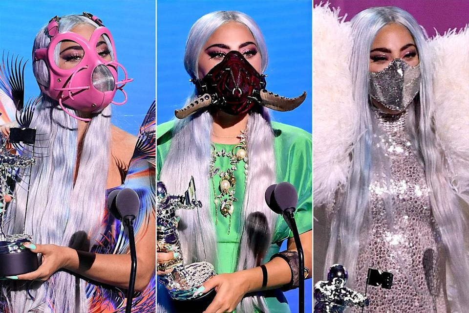A Guide To Everything Lady Gaga Wore On Her Face At The 2020 Mtv Vmas
