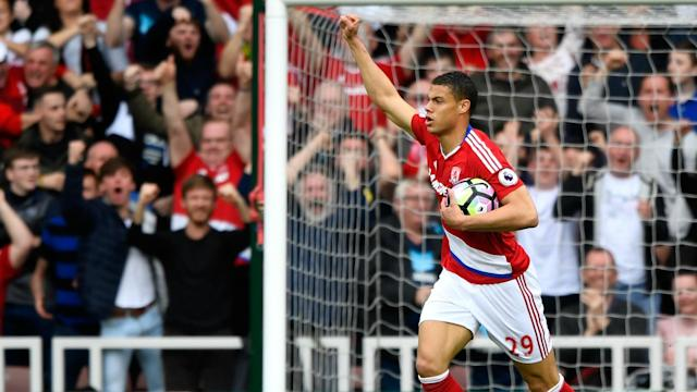 There was no biting from Eric Bailly or Rudy Gestede in a clash between the pair, the Middlesbrough striker has insisted.