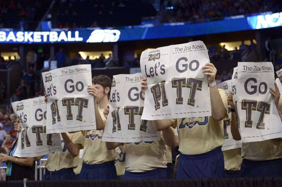 Pittsburgh fans during the first half in a third-round game in the NCAA college basketball tournament against Florida Saturday, March 22, 2014, in Orlando, Fla. (AP Photo/Phelan M. Ebenhack)