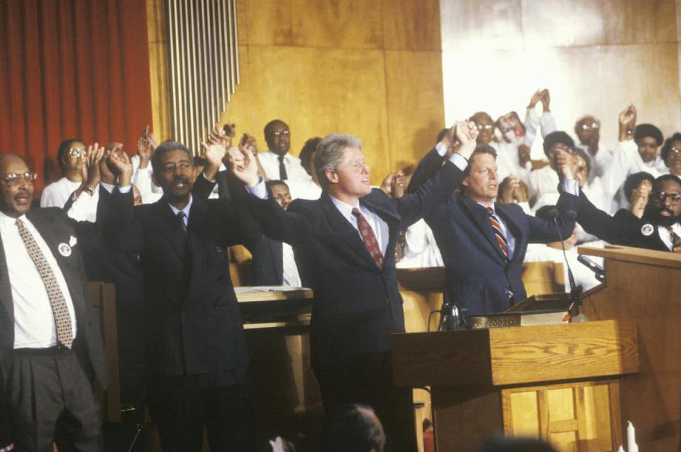 Black church members are seen as key to a candidate's election victory; here, Governor Bill Clinton and Senator Al Gore attend service at the Olivet Baptist Church in Cleveland, Ohio during the Clinton-Gore 1992 campaign.