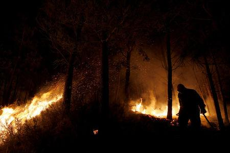 A firefighter works to put out a forest fire next to the village of Macao