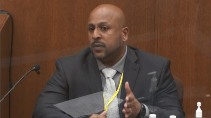 In this image from video, witness Senior Special Agent James Reyerson of the Minnesota Bureau of Criminal Apprehension testifies as Hennepin County Judge Peter Cahill presides Wednesday, April 7, 2021, in the trial of former Minneapolis police Officer Derek Chauvin at the Hennepin County Courthouse in Minneapolis. Chauvin is charged in the May 25, 2020 death of George Floyd. (Court TV via AP, Pool)