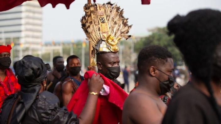 """Traditional leaders arrive at the final funeral rites of the former Ghana President Jerry John Rawlings in Accra, Ghana, on January 27, 2021. - Former Ghana President Jerry John Rawlings died in November 2020 at the age of 73 and his funeral was initially scheduled for December 23, 2020 but was postponed, due to what the foreign ministry called """"unforeseen circumstances""""."""