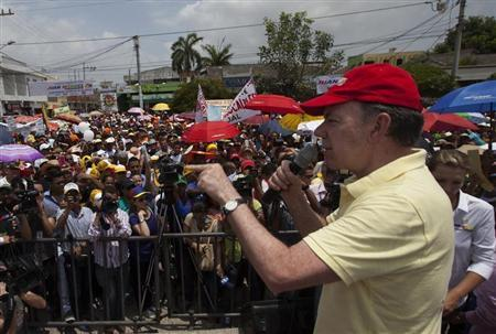 Colombia's President Santos delivers a speech during a campaign rally in Soledad