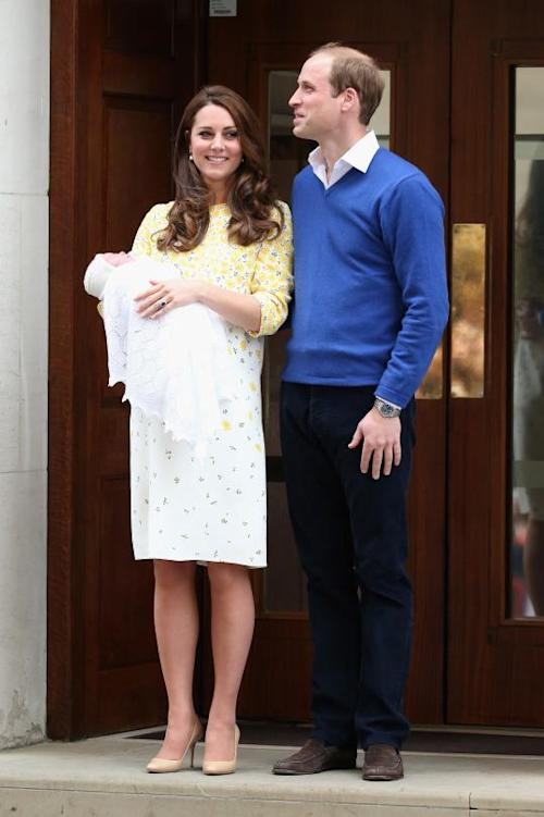 Kate Middleton and Prince William leave hospital after giving birth to a royal princess.