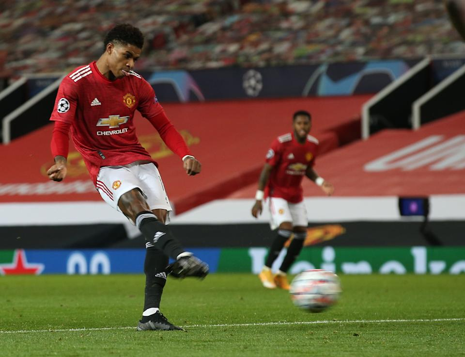 Marcus Rashford's deflected equaliser was later cancelled outManchester United via Getty Images