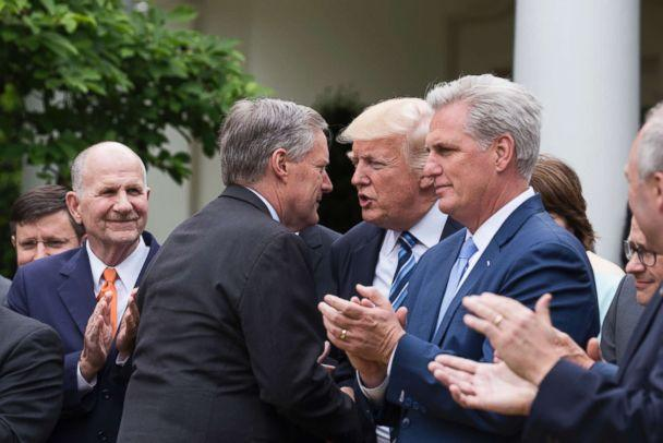 PHOTO: Rep. Mark Meadows shakes hands with President Trump, at the press conference with members of the GOP, on the passage of legislation to roll back the Affordable Care Act, in the Rose Garden of the White House, May 4, 2017. (Sipa USA via AP)