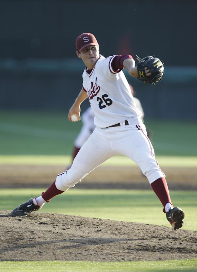FILE - This May 11, 2012 file photo shows Stanford pitcher Mark Appel throwing during an NCAA college baseball game at Stanford University in Palo Alto, Calif. The Houston Astros have the No. 1 pick in the baseball draft, Monday night June 4, 2012 in Secaucus, N.J. (AP Photo/Paul Sakuma, File)