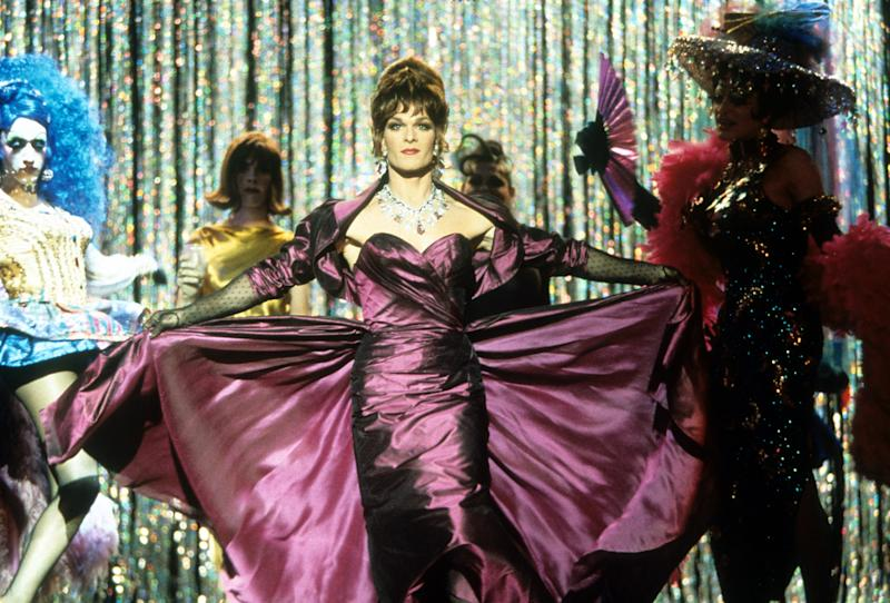 """To Wong Foo, Thanks For Everything! Julie Newmar, 1995 Costume Designer: Marlene Stewart Though parts of its plot were cribbed from The Adventures of Priscilla, Queen of the Desert—drag queens suffer car trouble the middle of a small town—To Wong Foo puts a fresh twist on the familiar story. Each queen has her own aesthetic: Vida Boheme is a Southern belle, Ch-Chi is a Latinx """"drag princess,"""" and Noxeema is a no-nonsense diva with a wardrobe to die for. Even the rural backdrop doesn't stop the group from dressing to the nines."""