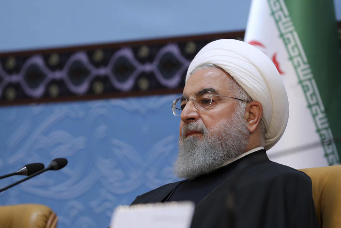 "In this photo released by official website of the office of the Iranian Presidency, President Hassan Rouhani attends an annual Islamic Unity Conference in Tehran, Iran, Saturday, Nov. 24, 2018. Rouhani has called Israel a ""cancerous tumor"" established by Western countries to advance their interests in the Middle East. (Iranian Presidency Office via AP)"