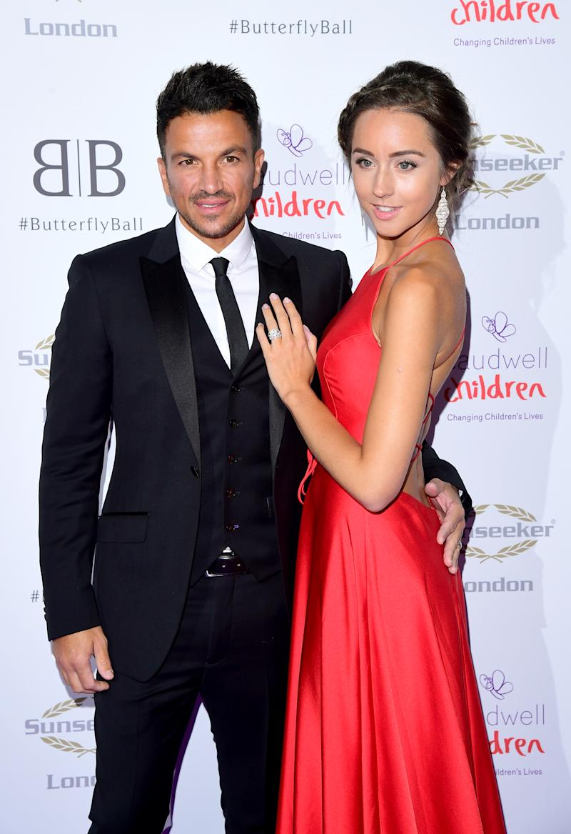 Peter Andre and Emily MacDonagh attending the Butterfly Ball Charity fundraiser held at the Grosvenor House Hotel London. (Photo by Ian West/PA Images via Getty Images)