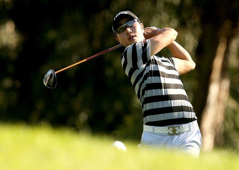 Sang-Moon Bae of South Korea hits a tee shot on the second hole on February 15, 2013 in Pacific Palisades, California