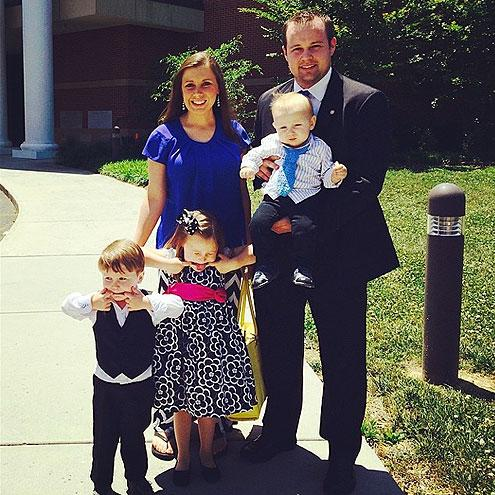 Michelle and Jim Bob's eldest son and his wife have four children – daughter Mackynzie, sons Michael and Marcus and youngest daughter Meredith Grace, born amid Josh's inappropriate touching scandal in 2015.In March 2017, they announced they're expecting their fifth child, a baby boy due later this year.