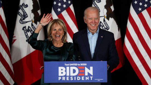 PHOTO: Democratic presidential candidate former Vice President Joe Biden addresses supporters with his wife Dr. Jill Biden during his caucus night watch party on Feb. 03, 2020, in Des Moines, Iowa. (Justin Sullivan/Getty Images)