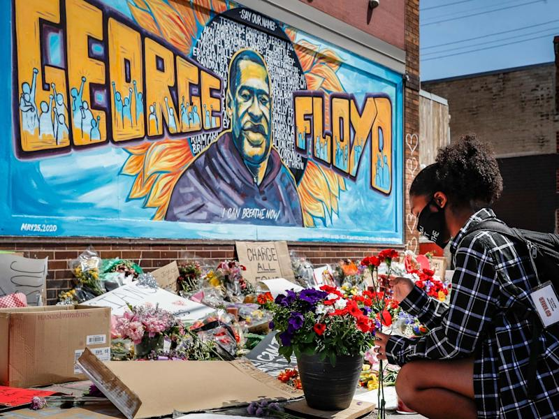 A Minneapolis mural for George Floyd: AP