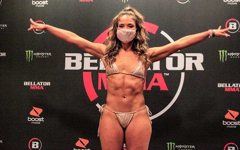 Valerie Loureda weighs in for her contest with Tara Graff at Bellator 243 on Friday night   - Bellator/Bellator