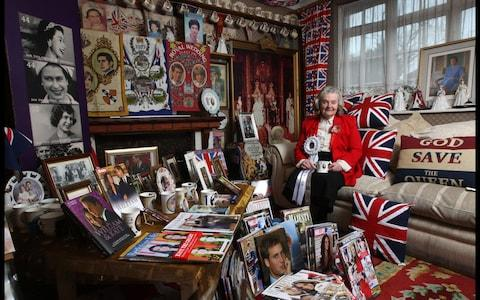 Royal superfan Margaret Tyler at her home in London - Credit: Martin Pope