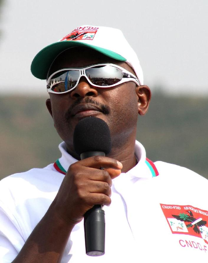 Burundian President Pierre Nkurunziza addresses a crowd during the official start of the 2015 electoral campaign by the The National Council for the Defense of Democracy–Forces for the Defense of Democracy party (CNDD–FDD) in Bujumbura, on June 26 (AFP Photo/Landry Nshimye)