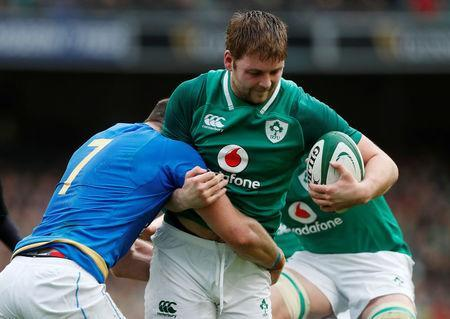 Rugby Union - Six Nations Championship - Ireland vs Italy - Aviva Stadium, Dublin, Republic of Ireland - February 10, 2018 Ireland's Iain Henderson in action with Italy's Braam Steyn REUTERS/Russell Cheyne