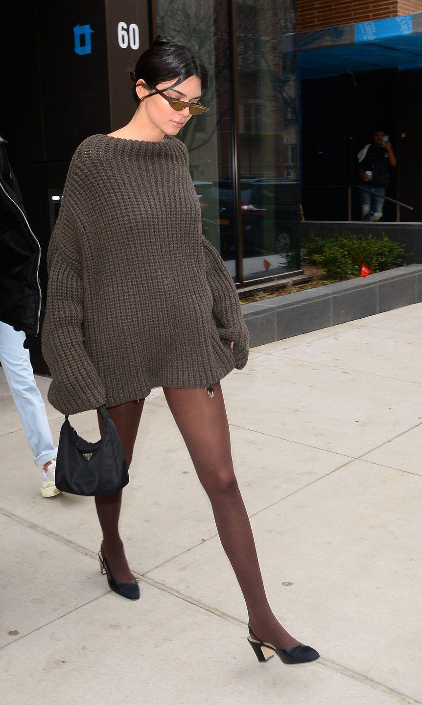 <p>Jenner wore a brown Eudon Choi Zuzu jumper during a shopping trip with BFF Hailey Baldwin New York City, February 2018</p>