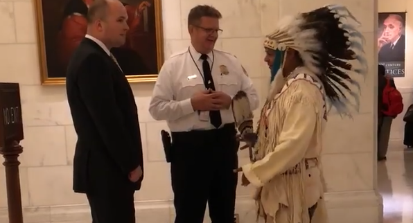 Chairman JoDe Goudy was denied entry to a Supreme Court hearing involving the <span>Yakama Nation</span> because he would not remove his traditional headdress. (Photo: Facebook)