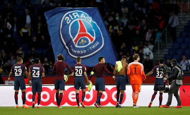 Soccer Football - Ligue 1 - Paris St Germain vs Angers - Parc des Princes, Paris, France - March 14, 2018 Paris Saint-Germain players after the match REUTERS/Gonzalo Fuentes