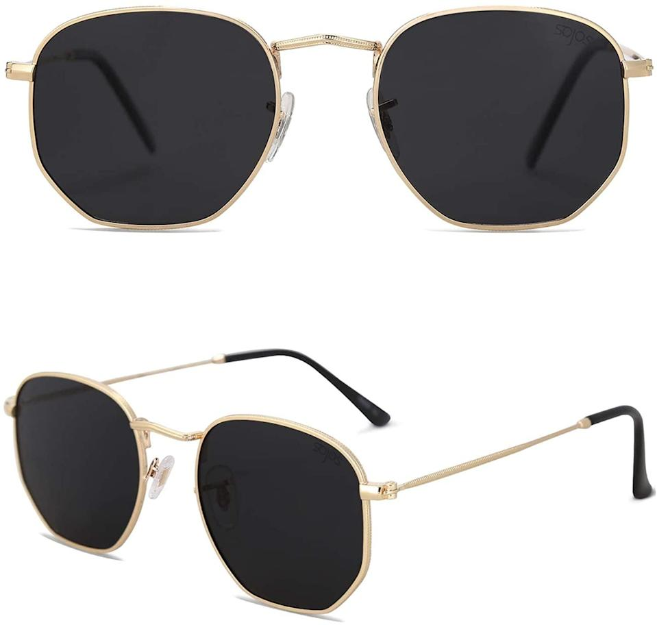 <p>If you want the geometric look but keeping it simple, the <span>Sojos Polygon Gold Frame/Grey Lens Polarized Sunglasses</span> ($14) are perfect for you!</p>