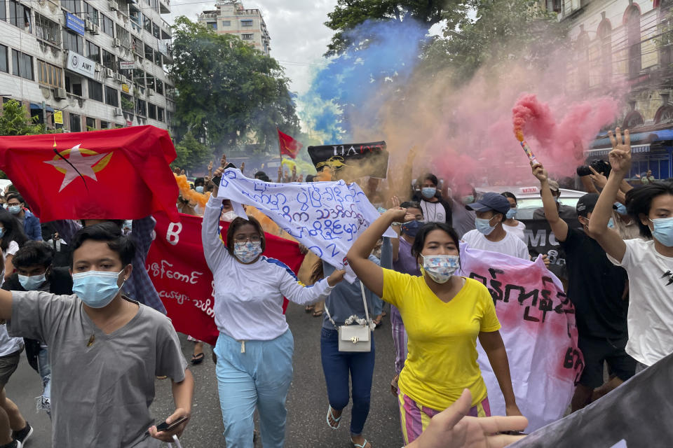 Students protest against the February military takeover by the State Administration Council as they march at Kyauktada township in Yangon, Myanmar on Wednesday July 7, 2021. (AP Photo)